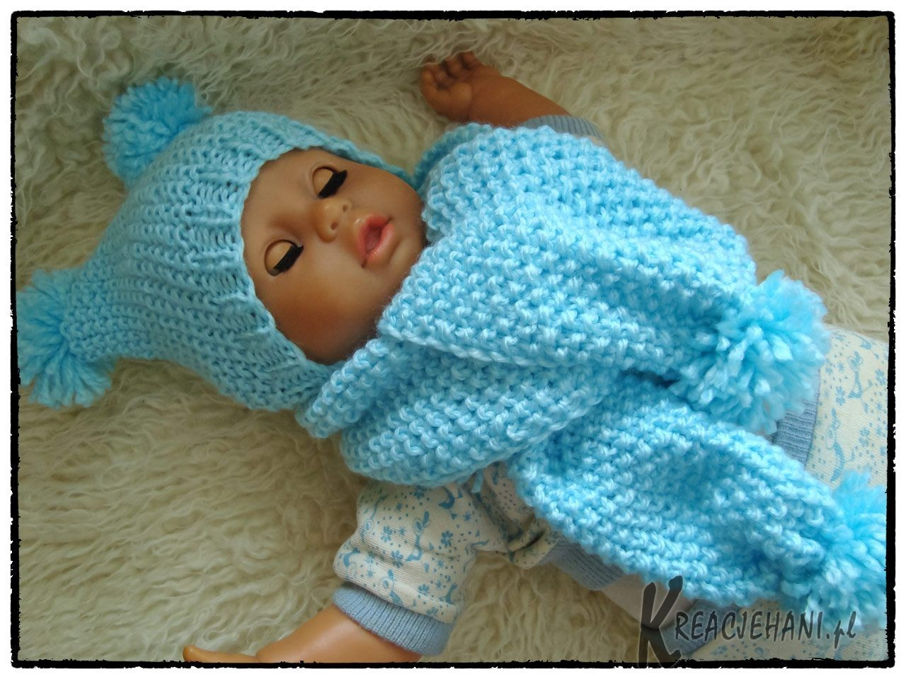 Oryginał Czapeczka i szalik dla niemowlaka | Kreacje Hani ID85